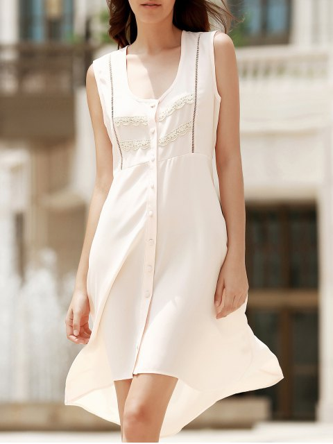 hot High Low Hem Scoop Neck Sleeveless Dress - SHALLOW PINK S Mobile