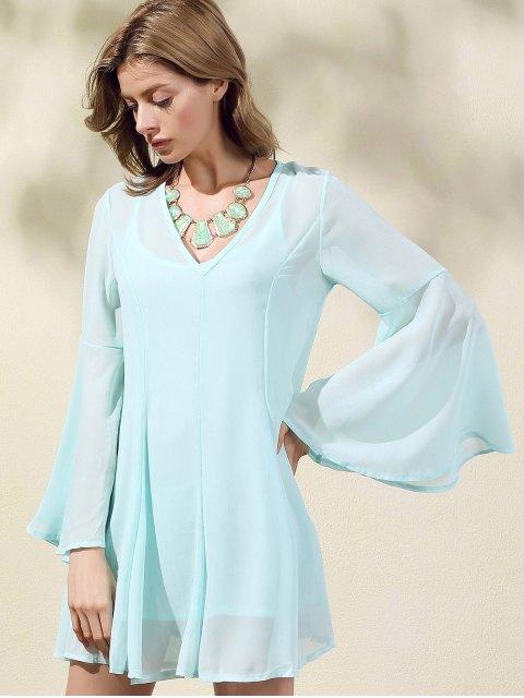 women's Solid Color V-Neck Flare Sleeve Dress - LIGHT GREEN L Mobile