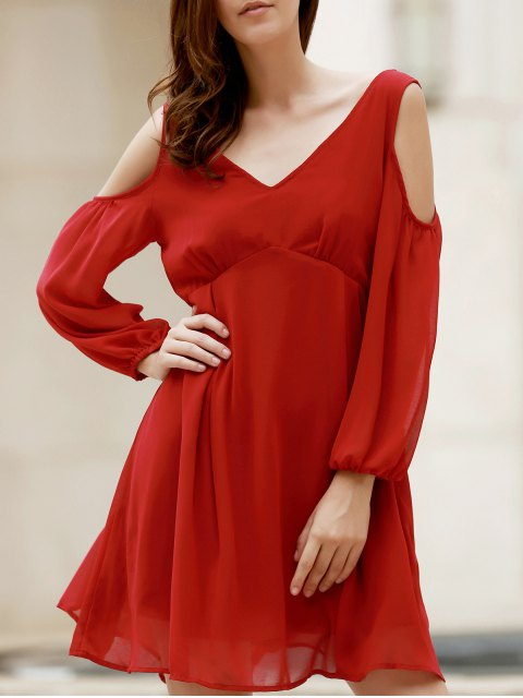 shop Plunging Neck Chiffon Flowing Dress - WINE RED M Mobile