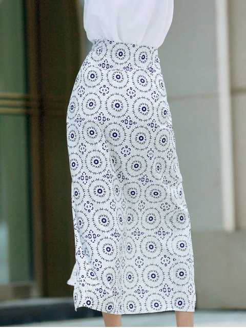 outfits High Slit High Waisted Printed Skirt - WHITE M Mobile