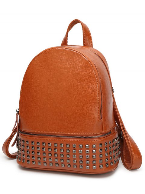 hot Rivets Zips Solid Color Satchel - BROWN  Mobile