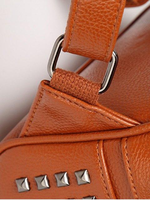hot Rivets Zips Solid Color Satchel - BROWN  Mobile