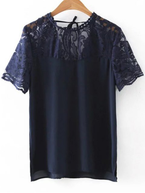 affordable Lace Spliced Round Neck Cut Out T-Shirt - CADETBLUE M Mobile