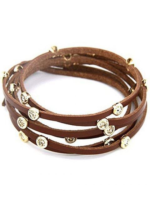 hot Rhinestone Alloy Faux Leather Strand Bracelet - COFFEE  Mobile