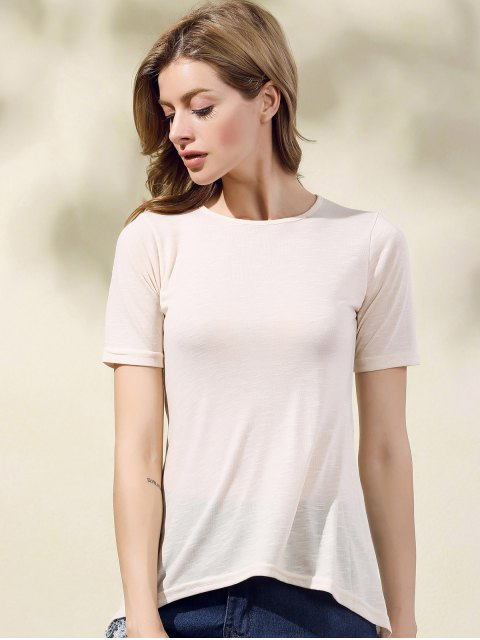 women's Hollow Out Solid Color Round Neck T-Shirt - APRICOT S Mobile