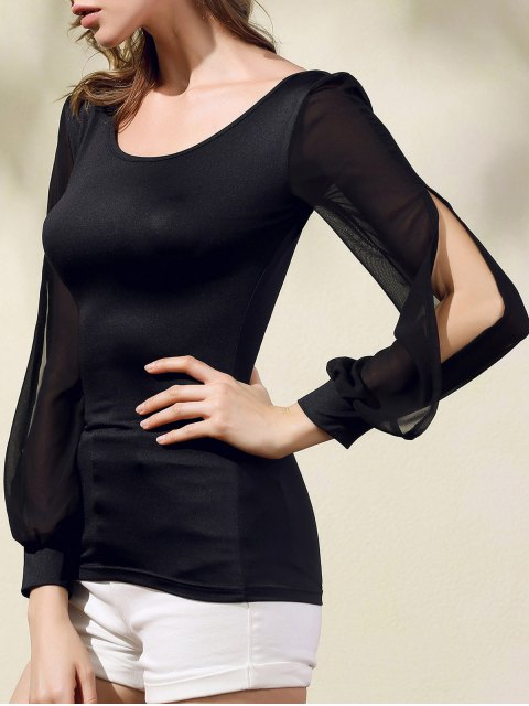 new Chiffon Spliced Scoop Neck Long Sleeve T-Shirt - BLACK XL Mobile