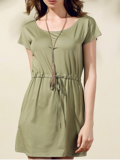 online Drawstring Scoop Neck Short Sleeve Dress - GREEN 2XL Mobile