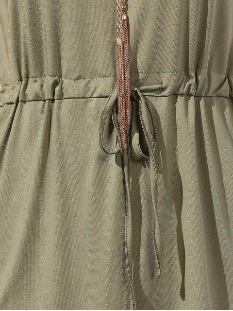 hot Drawstring Scoop Neck Short Sleeve Dress - GREEN L Mobile