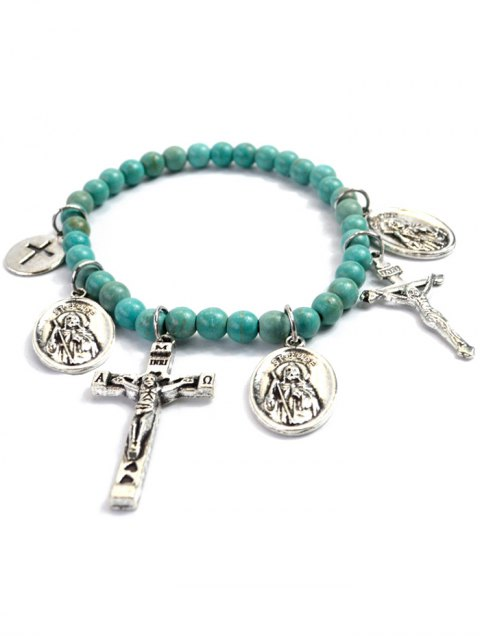 shop Crucifix Portrait Beaded Bracelet - GREEN  Mobile