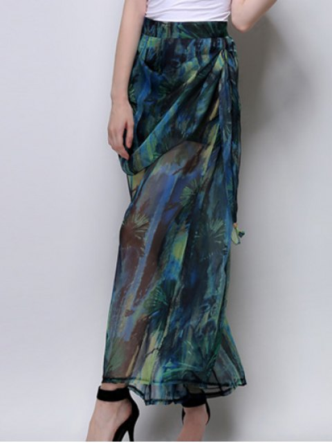 affordable Abstract Print High Waist Wide Leg Pants - GREEN L Mobile