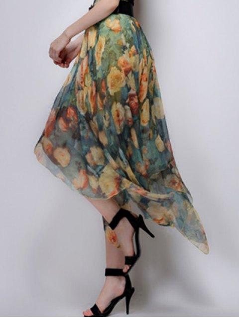 ladies Floral Irregular Hem High Waist Skirt - YELLOW L Mobile