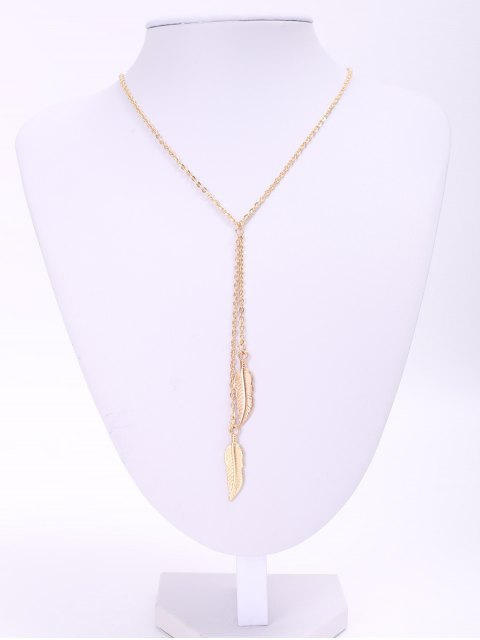 hot Alloy Feather Pendant Necklace - GOLDEN  Mobile