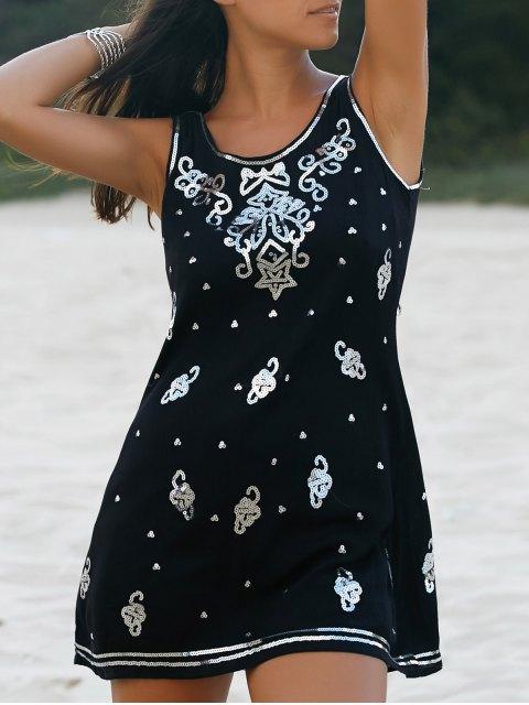 best Sequined A-Line Tank Dress - BLACK L Mobile