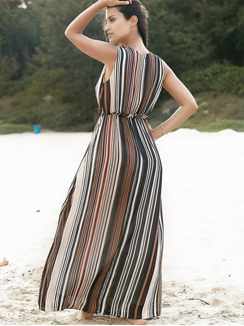 online Willow Stripe Square Neck Chiffon Dress - COLORMIX M Mobile
