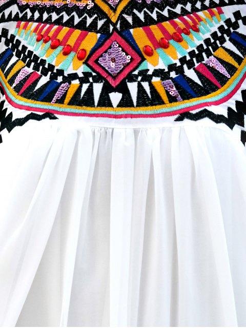 unique Sleeveless Embroidery Round Neck Dress - WHITE XL Mobile