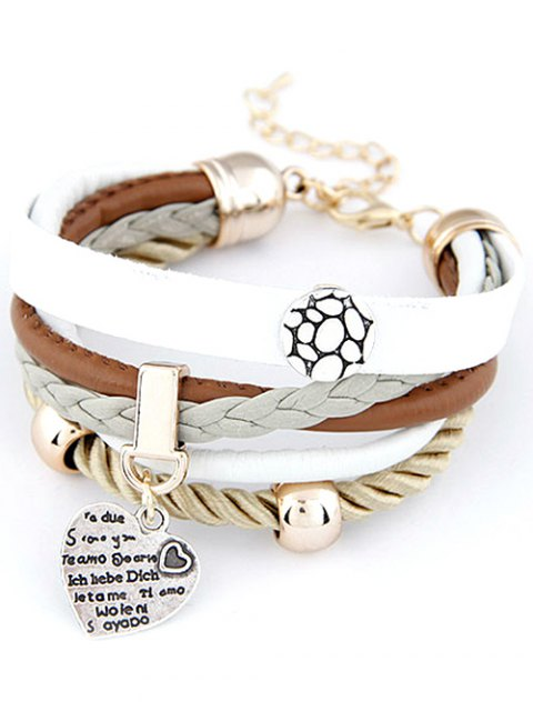 sale Heart Faux Leather Layered Bracelet - WHITE  Mobile