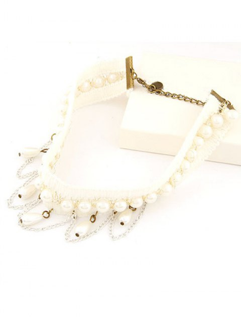 ladies Faux Pearl Tassel Elegant Choker Necklace - WHITE  Mobile