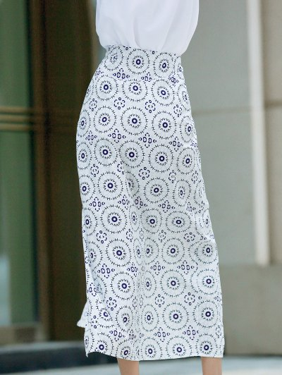 High Slit High Waisted Printed Skirt - WHITE M Mobile