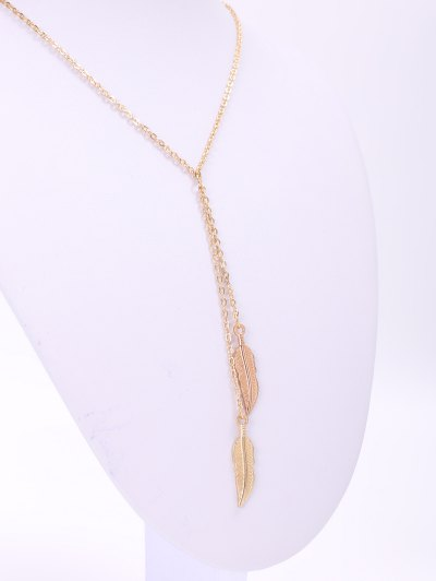 Alloy Feather Pendant Necklace - GOLDEN  Mobile