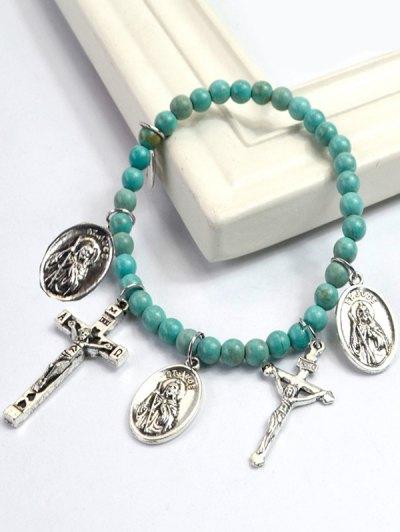 Crucifix Portrait Beaded Bracelet - GREEN  Mobile