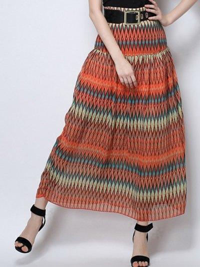 Zig Zag Print High Waist  Skirt - ORANGE M Mobile