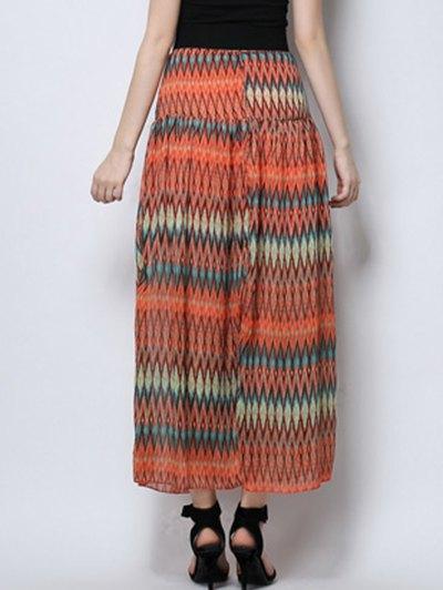 Zig Zag Print High Waist  Skirt - ORANGE S Mobile