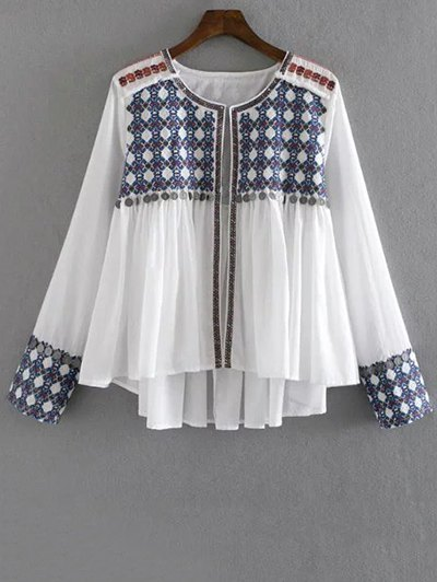 High-Low Printed Collarless Long Sleeve Blouse - White
