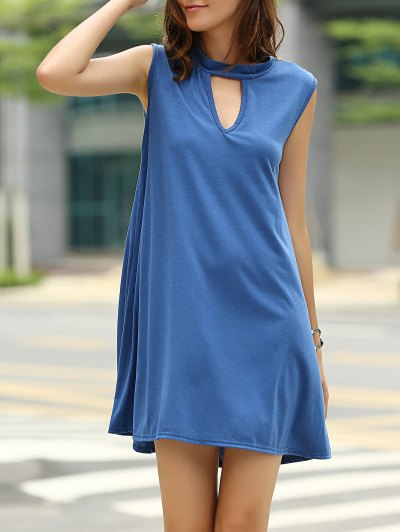 Stylish Keyhole Neckline Sleeveless Solid Color Dress For Women - Cadetblue