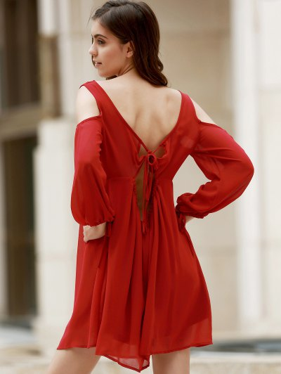 Wine Red Hollow Plunging Neck Chiffon Dress - WINE RED M Mobile