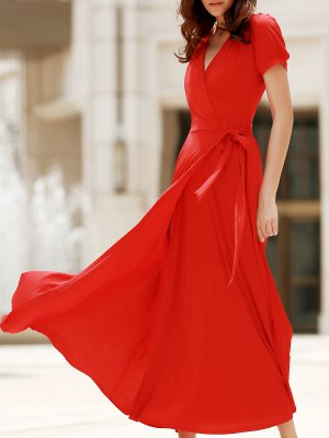 Red V Neck Short Sleeve Slit Dress - Red