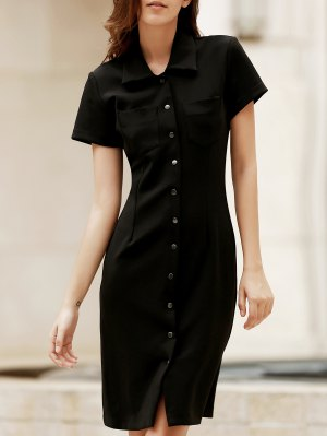 Solid Color Short Sleeve Slimming Dress - Black