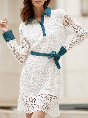 Bowtie Shirt Collar Long Sleeve Lace Dress - White