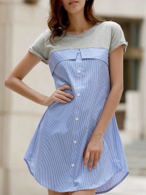 Stripe Splice Round Neck Short Sleeve Dress - Light Blue