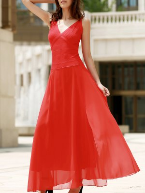 Red Chiffon V Neck Sleeveless Dress - Red