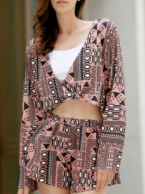 Long Sleeve Front Twist Top + Printed Shorts Twinset