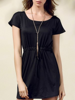 Drawstring Scoop Neck Short Sleeve Dress - Black