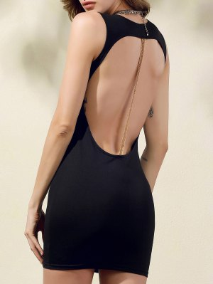 Hollow Back Bodycon Party Dress - Black