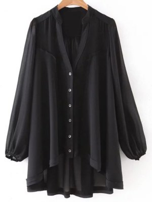 High Low Hem V-Neck Long Sleeve Shirt - Black