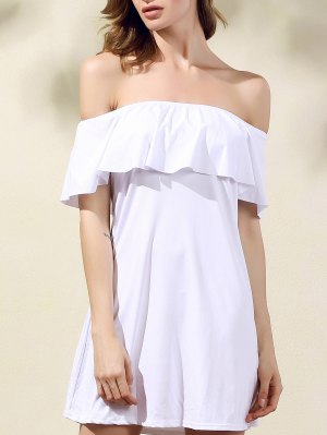 Frilled Off The Shoulder Mini Dress - White