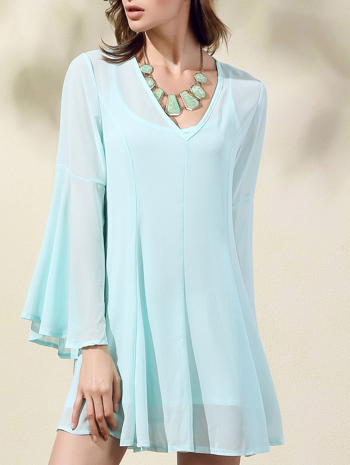 V-Neck Flare Sleeve Solid Color Dress