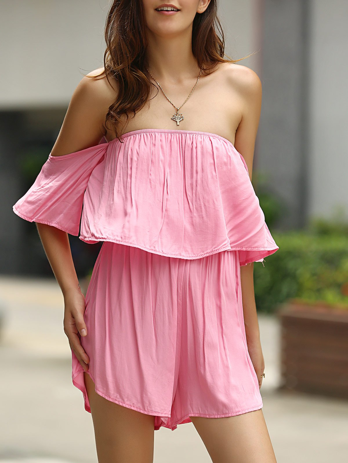 Fashionable Off-The-Shoulder Flouncing Pink Romper For Women