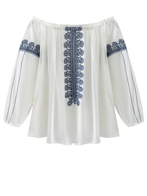 Lantern Sleeve Off The Shoulder Embroidery Blouse