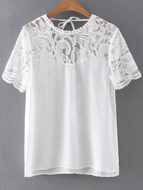 Round Neck Lace Spliced Cut Out T-Shirt