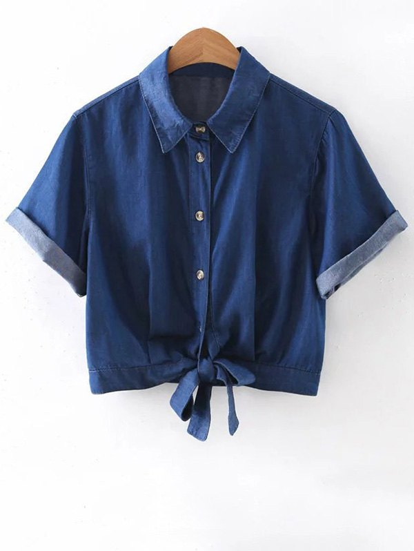 Knotted Shirt Collar Cropped Denim Shirt
