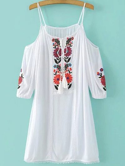 Cami Cold Shoulder Floral Embroidery Dress