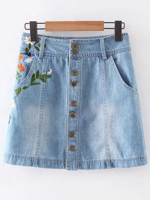 Pockets Floral Embroidery Denim Skirt