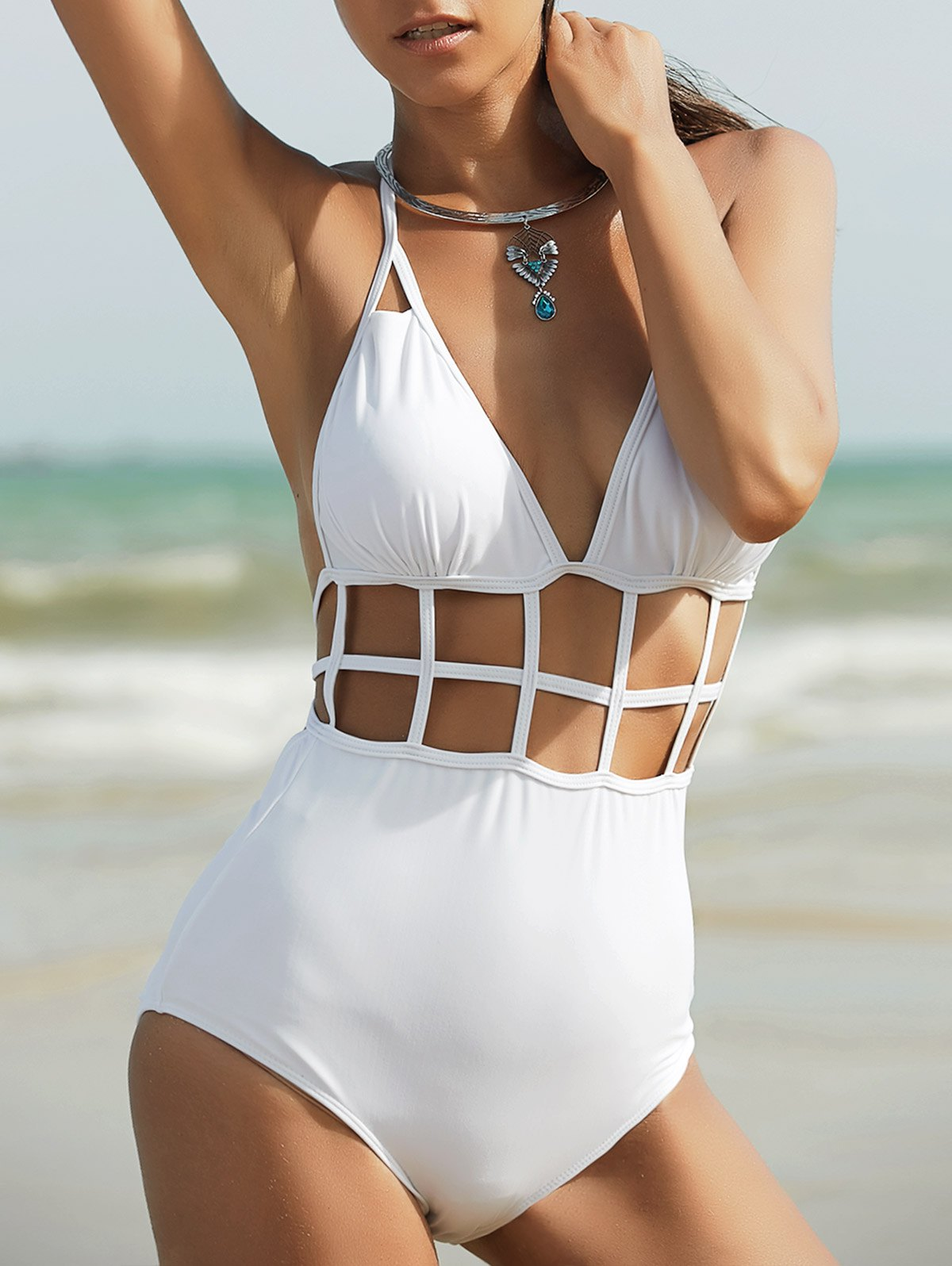 Halter High Waisted Cut Out One Piece Swimwear