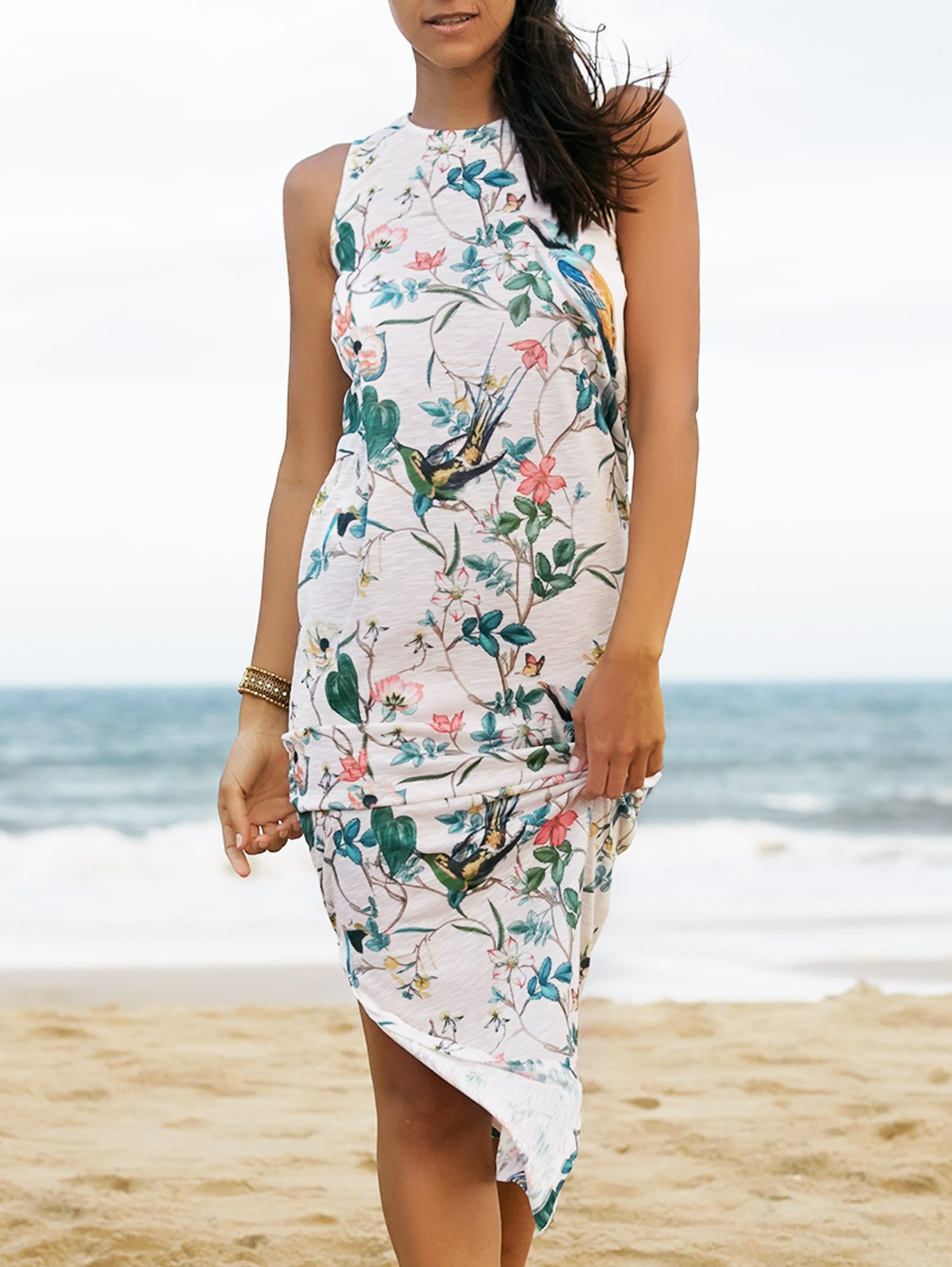 Floral and Bird Print Dress
