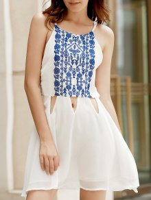 Spaghetti Strap Vintage Floral White Dress