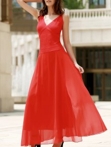 Red Chiffon V Neck Sleeveless Dress